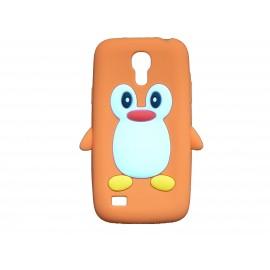 Coque silicone pour Samsung Galaxy S4 Mini / I9190 pingouin orange + film protection écran offert