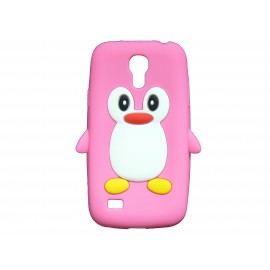 Coque silicone pour Samsung Galaxy S4 Mini / I9190 pingouin rose + film protection écran offert