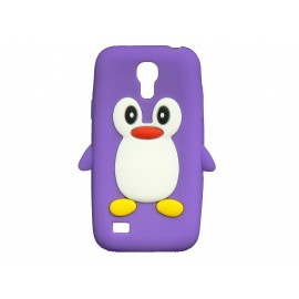 Coque silicone pour Samsung Galaxy S4 Mini / I9190 pingouin violet + film protection écran offert