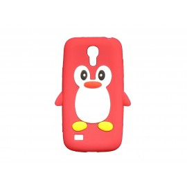 Coque silicone pour Samsung Galaxy S4 Mini / I9190 pingouin rouge + film protection écran offert