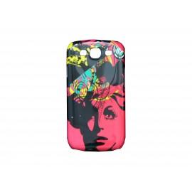 Coque pour Samsung Galaxy S3 / I9300 visage dame rose + film protection écran offert