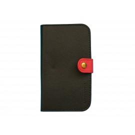 Pochette Etui à rabat pour Samsung I9300 simili-cuir noir rouge+ film protectin écran