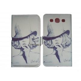 Pochette Etui à rabat pour Samsung I9300 simili-cuir dame chapeau + film protectin écran