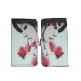 Pochette Etui à rabat pour Samsung I9300 simili-cuir dame aux roses + film protectin écran