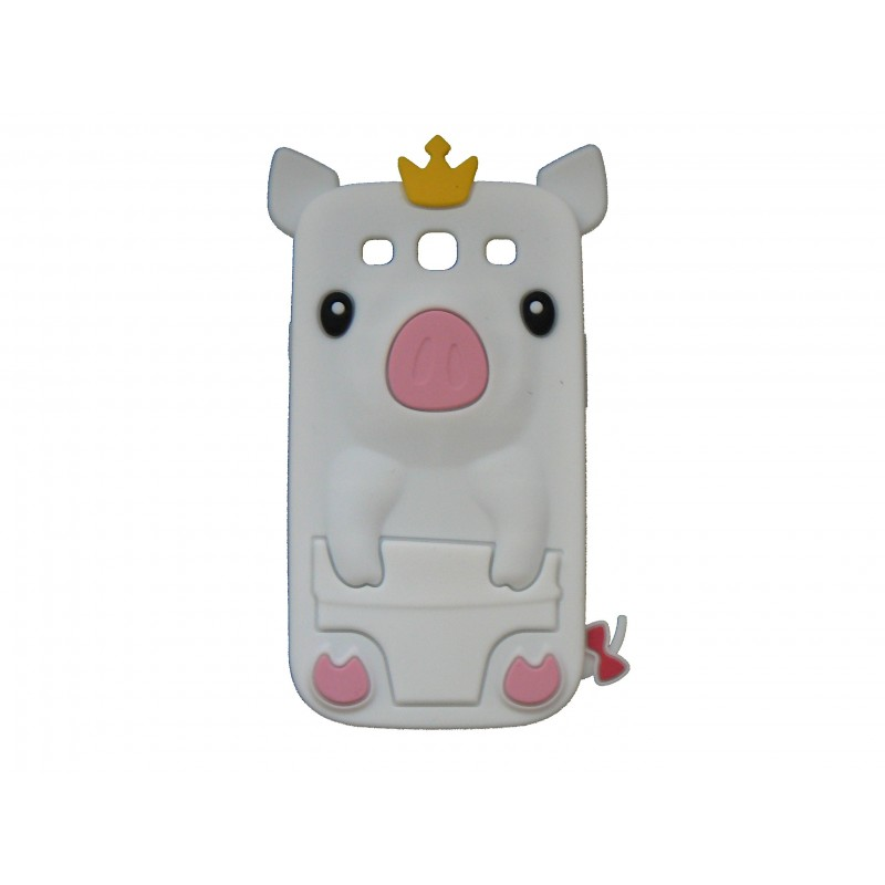 coque silicone pour samsung galaxy s3 i9300 cochon blanc. Black Bedroom Furniture Sets. Home Design Ideas