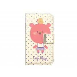 Pochette pour Samsung I9500 Galaxy S4 simili-cuir beige ourson rose + film protection écran