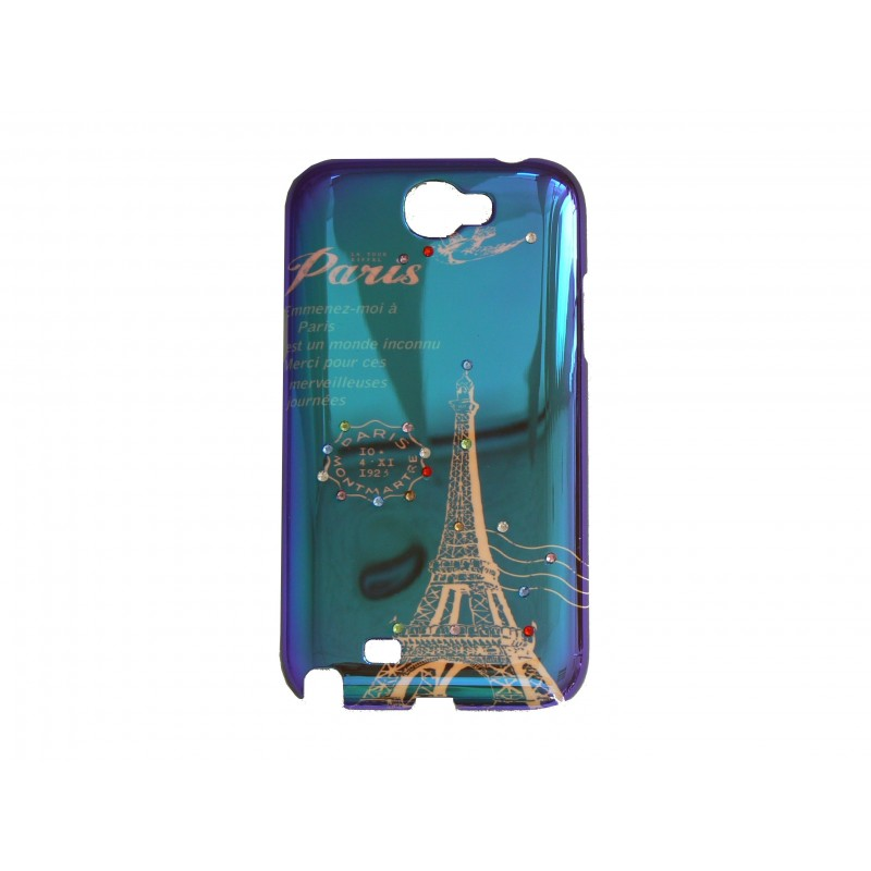 coque bleue pour samsung galaxy note 2 n7100 tour eiffel. Black Bedroom Furniture Sets. Home Design Ideas