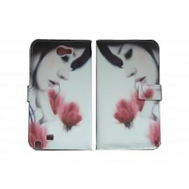 Pochette pour Samsung Galaxy Note 2 / N7100 simili-cuir Dame fleurs roses+ film protectin écran