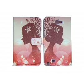 Pochette pour Samsung Galaxy Note 2 / N7100 simili-cuir Dame fleurs + film protectin écran