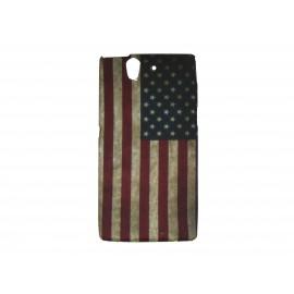 Coque silicone pour Sony Xperia Z drapeau USA/Etats-Unis vintage + film protection écran