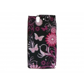 Coque silicone pour Sony Xperia Z papillons roses + film protection écran