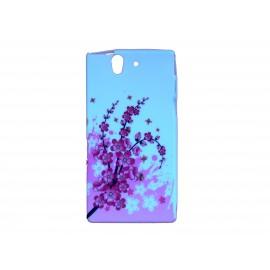 Coque silicone pour Sony Xperia Z petites fleurs roses+ film protection écran