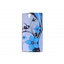 Coque silicone pour Sony Xperia Z petites fleurs géantes bleues + film protection écran