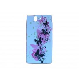 Coque silicone pour Sony Xperia Z fleurs roses papillons noirs + film protection écran