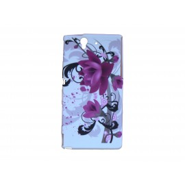 Coque silicone pour Sony Xperia Z fleurs roses + film protection écran