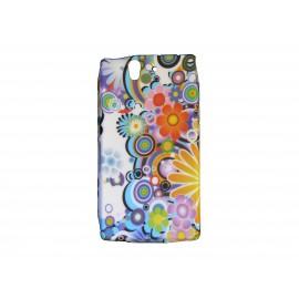 Coque silicone pour Sony Xperia Z fleurs multicolores + film protection écran