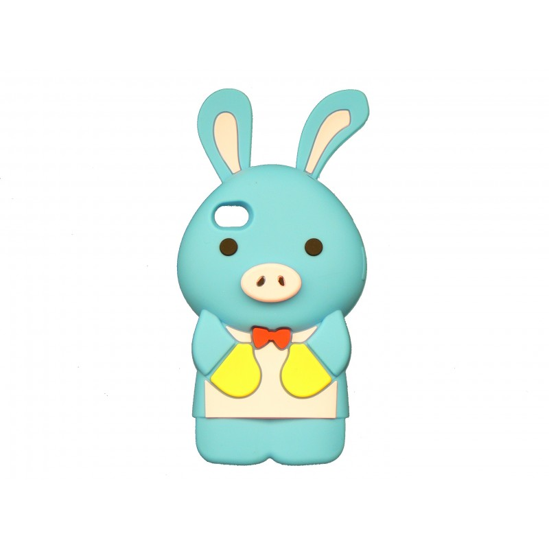 coque silicone pour iphone 4 lapin bleu. Black Bedroom Furniture Sets. Home Design Ideas