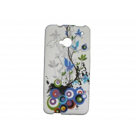 Coque silicone pour HTC One cercles multicolores + film protection écran