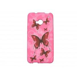 Coque silicone pour HTC One papillons rouges + film protection écran