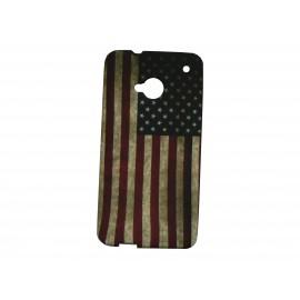 Coque silicone pour HTC One drapeau USA/Etats-Unis vintage + film protection écran
