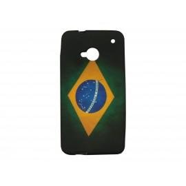 Coque silicone pour HTC One drapeau Brésil vintage + film protection écran