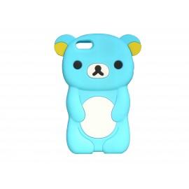 Coque silicone pour Iphone 5C ourson bleu turquoise oreilles jaunes+ film protection écran