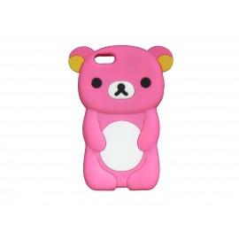 Coque silicone pour Iphone 5C ourson rose bonbon oreilles jaunes+ film protection écran