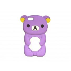 Coque silicone pour Iphone 5C ourson violet oreilles jaunes+ film protection écran