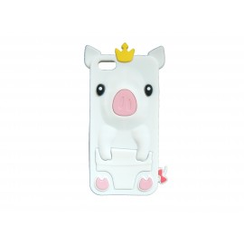 Coque silicone pour Iphone 5C cochon blanc + film protection écran