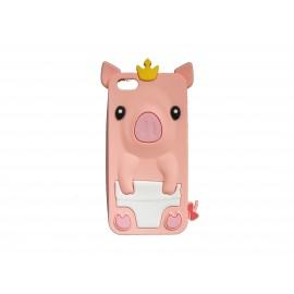 Coque silicone pour Iphone 5C cochon saumon + film protection écran