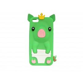 Coque silicone pour Iphone 5C cochon vert + film protection écran