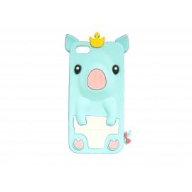 Coque silicone pour Iphone 5C cochon bleu turquoise + film protection écran