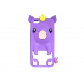 Coque silicone pour Iphone 5C cochon violet + film protection écran