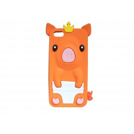 Coque silicone pour Iphone 5C cochon orange + film protection écran