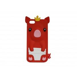 Coque silicone pour Iphone 5C cochon rouge + film protection écran