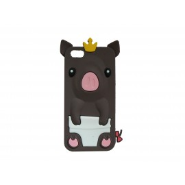 Coque silicone pour Iphone 5C cochon marron + film protection écran