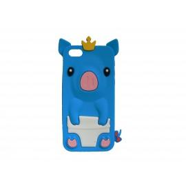 Coque silicone pour Iphone 5C cochon bleu + film protection écran