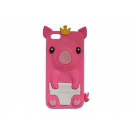 Coque silicone pour Iphone 5C cochon rose bonbon + film protection écran