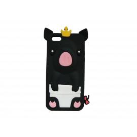 Coque silicone pour Iphone 5C cochon noir + film protection écran