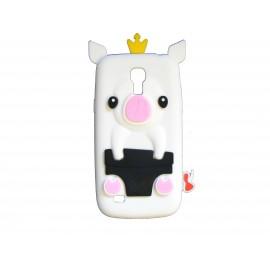 Coque silicone pour Samsung Galaxy S4 Mini / I9190 cochon blanc + film protection écran offert