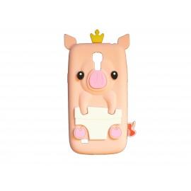 Coque silicone pour Samsung Galaxy S4 Mini / I9190 cochon saumon + film protection écran offert