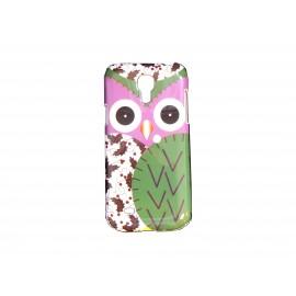 Coque pour Samsung Galaxy S4 Mini / I9190 hibou rose vert + film protection écran offert