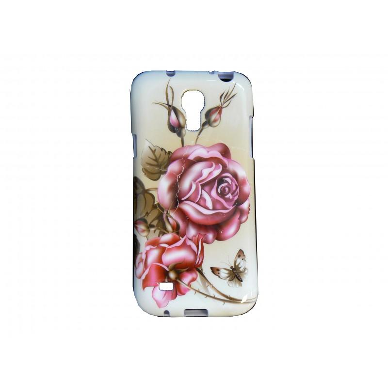 coque silicone pour samsung galaxy s4 mini i9190 blanche fleurs roses. Black Bedroom Furniture Sets. Home Design Ideas