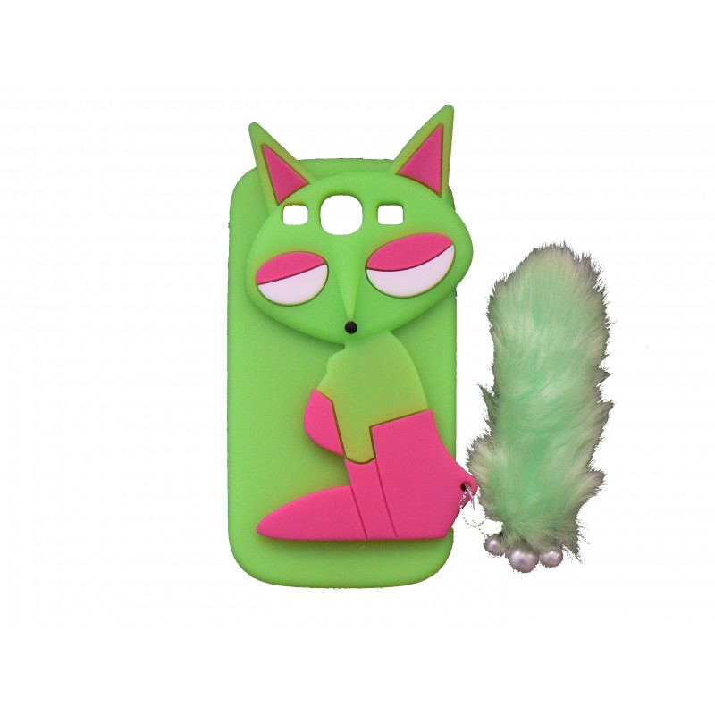 coque silicone pour samsung galaxy s3 i9300 renard vert. Black Bedroom Furniture Sets. Home Design Ideas