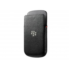 Etui en cuir noir Blackberry Q10 + film protection écran
