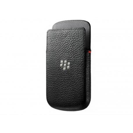 Etui en cuir noir Blackberry Q10 + film protection écran