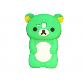 Coque silicone pour Samsung Galaxy Trend/S7560 ourson vert + film protection écran offert