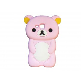 Coque silicone pour Samsung Galaxy Trend/S7560 ourson rose clair + film protection écran offert