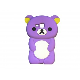Coque silicone pour Samsung Galaxy Trend/S7560 ourson violet+ film protection écran offert