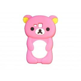Coque silicone pour Samsung Galaxy Trend/S7560 ourson rose bonbon + film protection écran offert